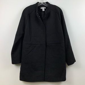 H&M Wool Blend Stand Collar Long Sleeve Coat in Black